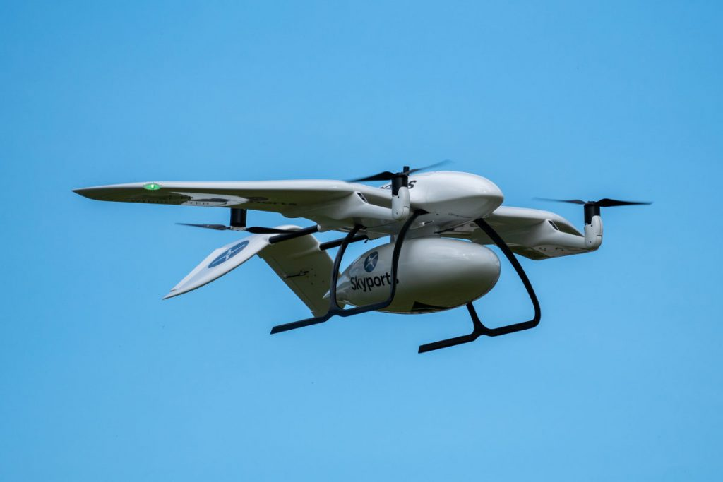Wingcopter drone delivering COVID-19 test kits to Isle of Mull